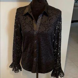 Vintage 90's Black Lace Bell Sleeve Top